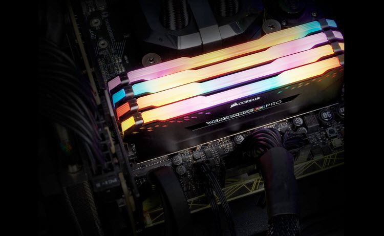 Vengeance RGB Pro Series mounted on the motherboard with glowing RGB