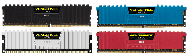 Four RAMs in Black, Blue, White and Red heat spreader, respectively