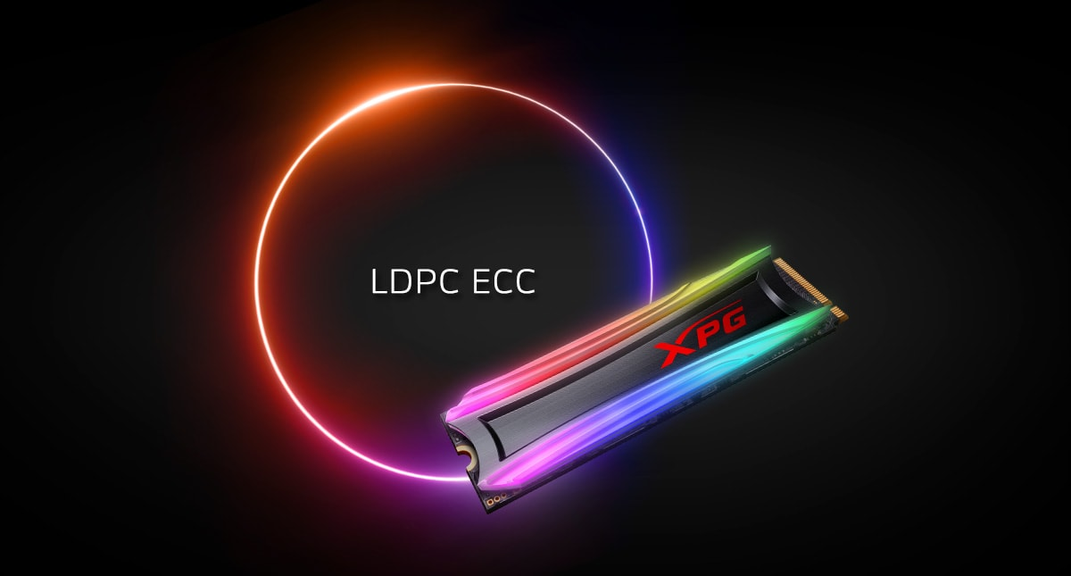 A SPECTRIX S40G angled top right with RGB lighting turned on. An eclipse ring at the background, circling text reading LDPC ECC.
