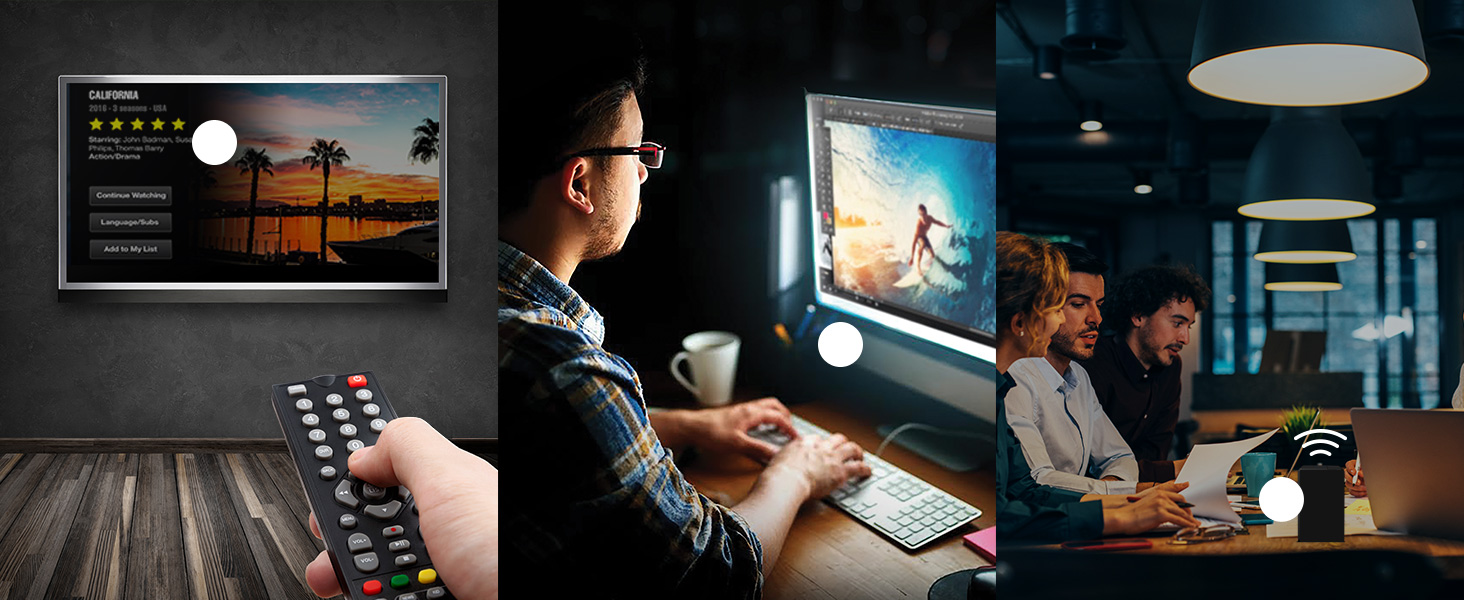 Three images, first a hand with a remote pointing towards a TV, second a man at his workstation all-in-one PC working on a photoshop file, third, a group of workers having an impromptu meeting at a coffee shop