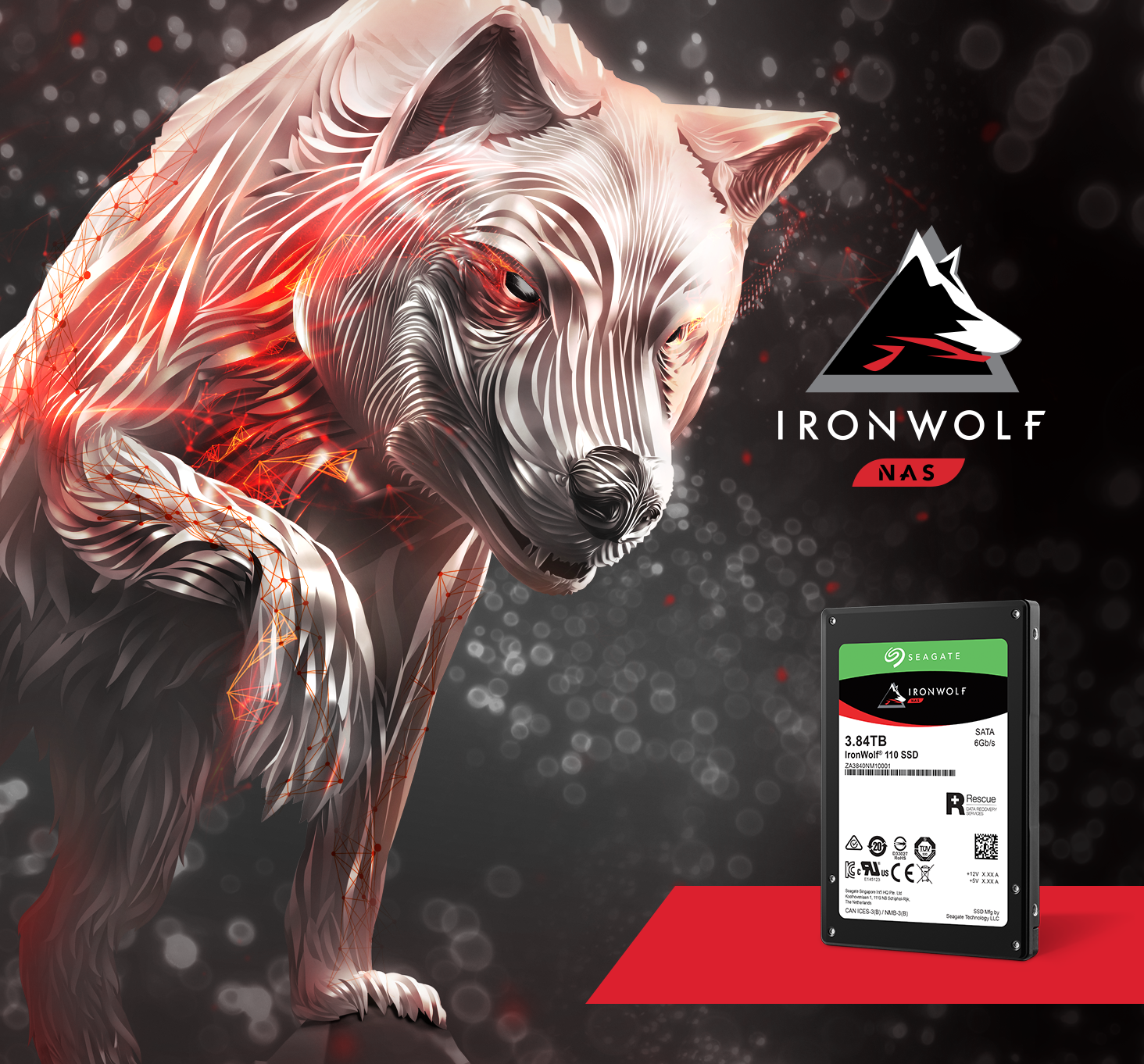 Seagate Ironwolf 110 SSD next to a stylized wolf and the IronWolf NAS logo