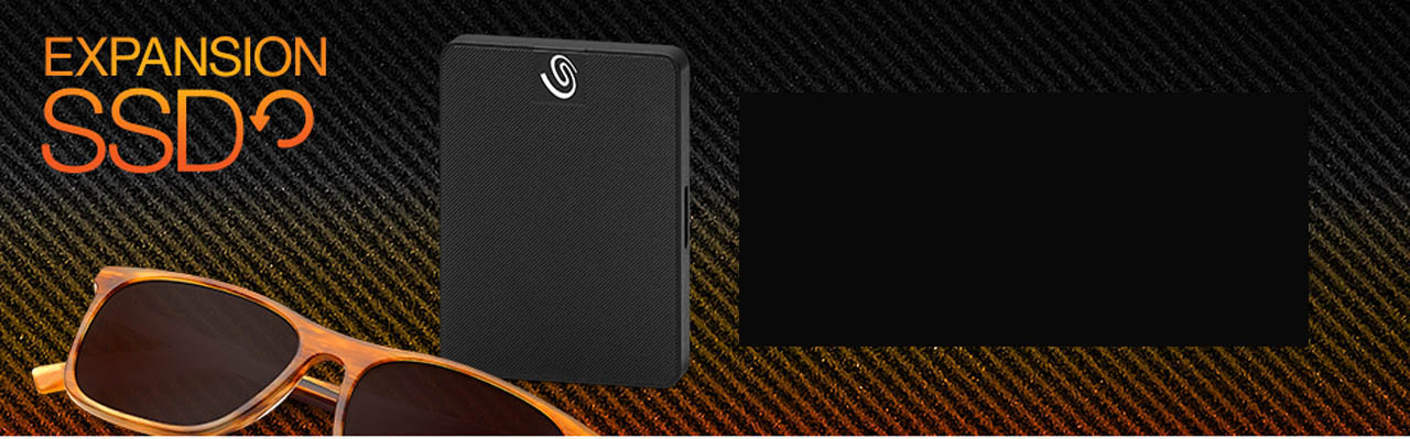 Black Expansion SSD face forward next to sunglasses and graphic text that reads: EXPANSION SSD