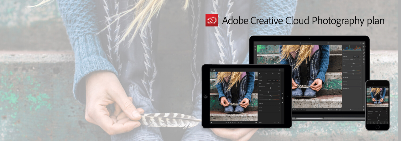 At the right of this picture is a tablet, a laptop and a phone running the Adobe Creative Cloud. The background is a female playing with a feather in her hands