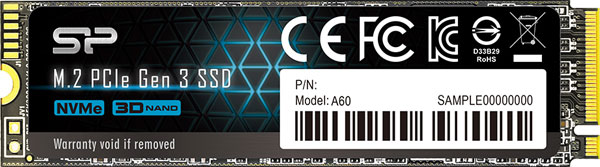 Front of the Silicon Power P34A60 SSD, with a label containing model# and certification logos