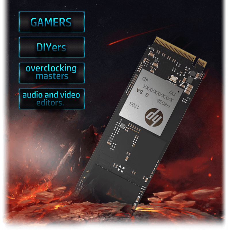 HP EX950 SSD in a Graphic of Flaming Floating Rocks, Along with Text Graphics That Read: GAMERS, DIYers, overclocking masters, audio and video editors.