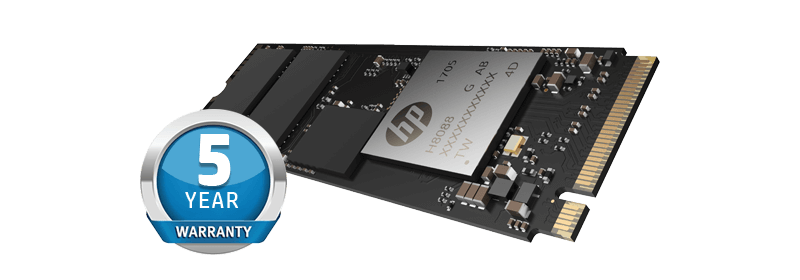 HP EX950 SSD Facing Up to the Left Next to a 5-Year Warranty Badge