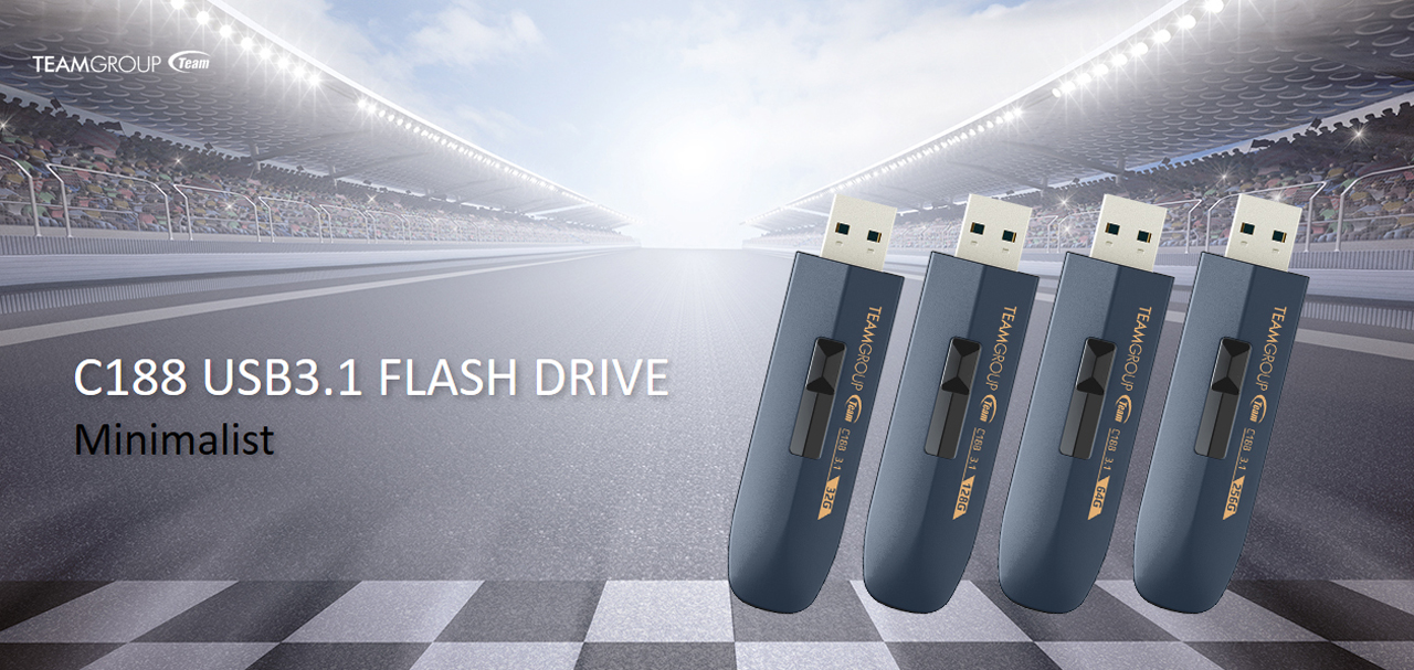 TeamGroup banner with four C188 USB 3.1 flash drives at the finish line of a race track
