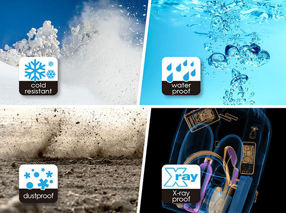 Four different images with text and graphics that indicate: 1) powdered snow flying in the air on a snow covered mountain with snowflake graphics and text that reads: cold resistant, 2) bubbles in water with rain drop icons and text that reads: water proof, 3) dirt rising up in the air, along with particle graphics with text that reads: dustproof and 4) X-ray image of items in a backpack, along with an x-ray logo and text that reads: x-ray proof