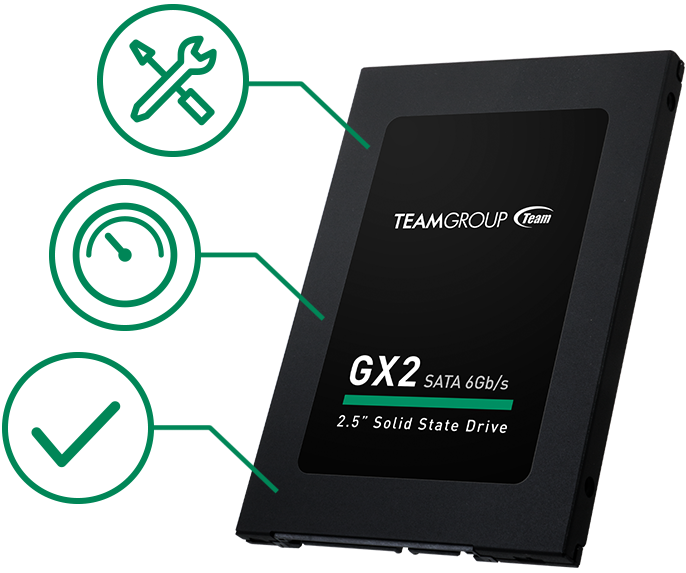 Team Group GX2 SSD facing slightly to the left with tools, speedometer and checkmark icons next to it