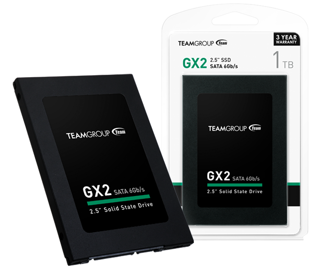 Team Group GX2 SSD next to a GX2 SSD in its packaging