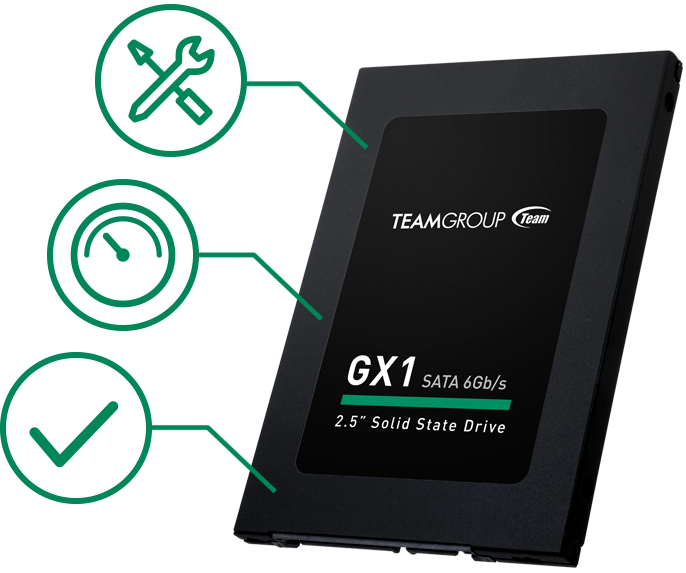 Team Group GX1 SSD angled up to the left with green icons of a checkmark, speedometer and wrench over a flathead screwdriver