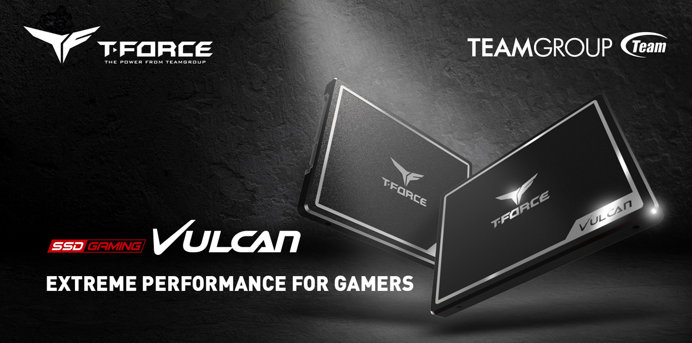 Team Group T-Force Banner Showing the Vulcan Gaming SSDs Angled Up Left and Right, Next to Text That Reads: EXTREME PERFORMANCE FOR GAMERS