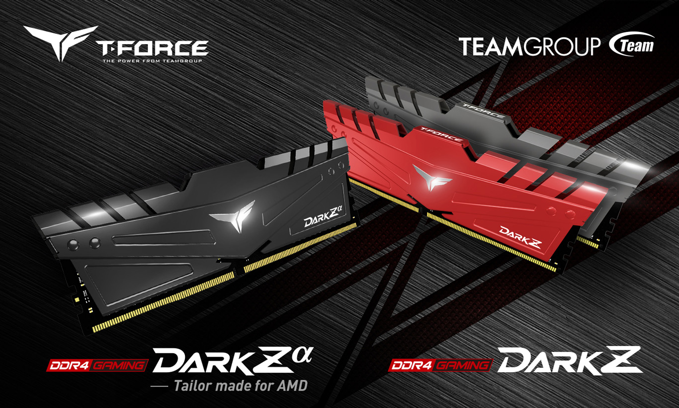 Team T-FORCE Red and Black DARK Z/Za Desktop Memory Model side view and Team Group logo