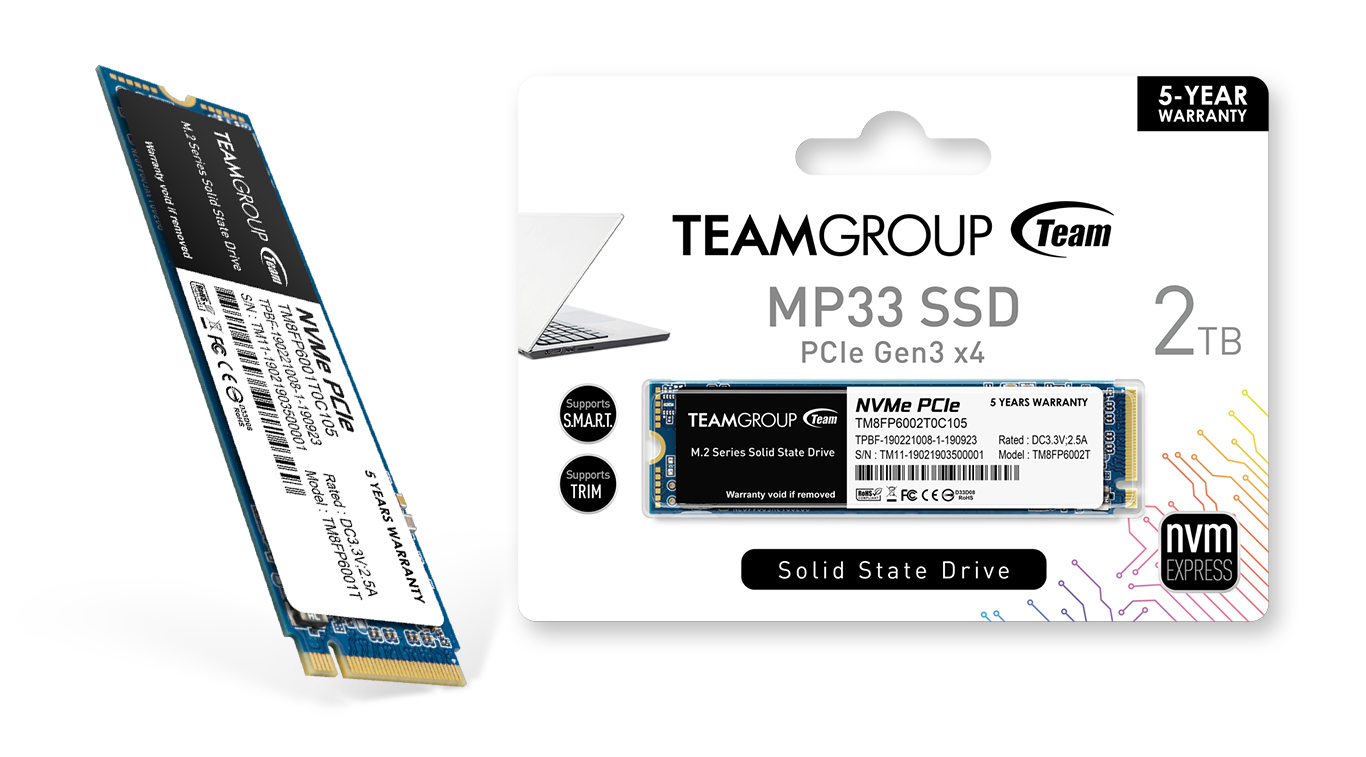 Teamgroup MP33 M.2 PCle SSD side view and package
