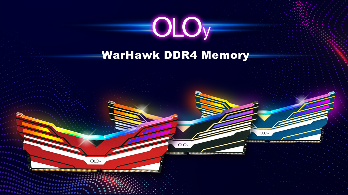 OLOy Logo and Three OLOy WarHawk RGB Memory Sticks Facing Forward in Red, Black and Blue
