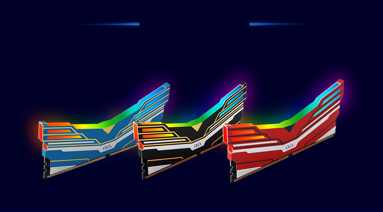 Side Angled view of the three OLOy WarHawk RGB Memory Sticks, red, black and blue