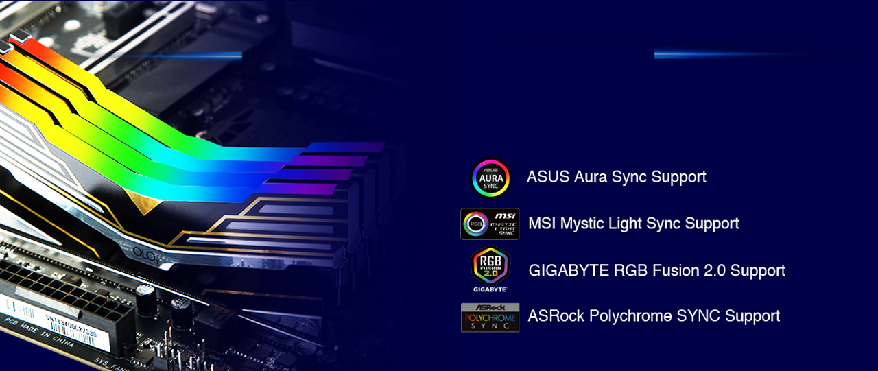 Side View of Four OLOy WarHawk RGB Memory Sticks Installed on a Motherboard, Along with Badges for ASUS Aura Sync, MSI Mystic Light, GIGABYTE RGB Fusion 2.0 and ASRock Polychrome SYNC Support RGB Sync
