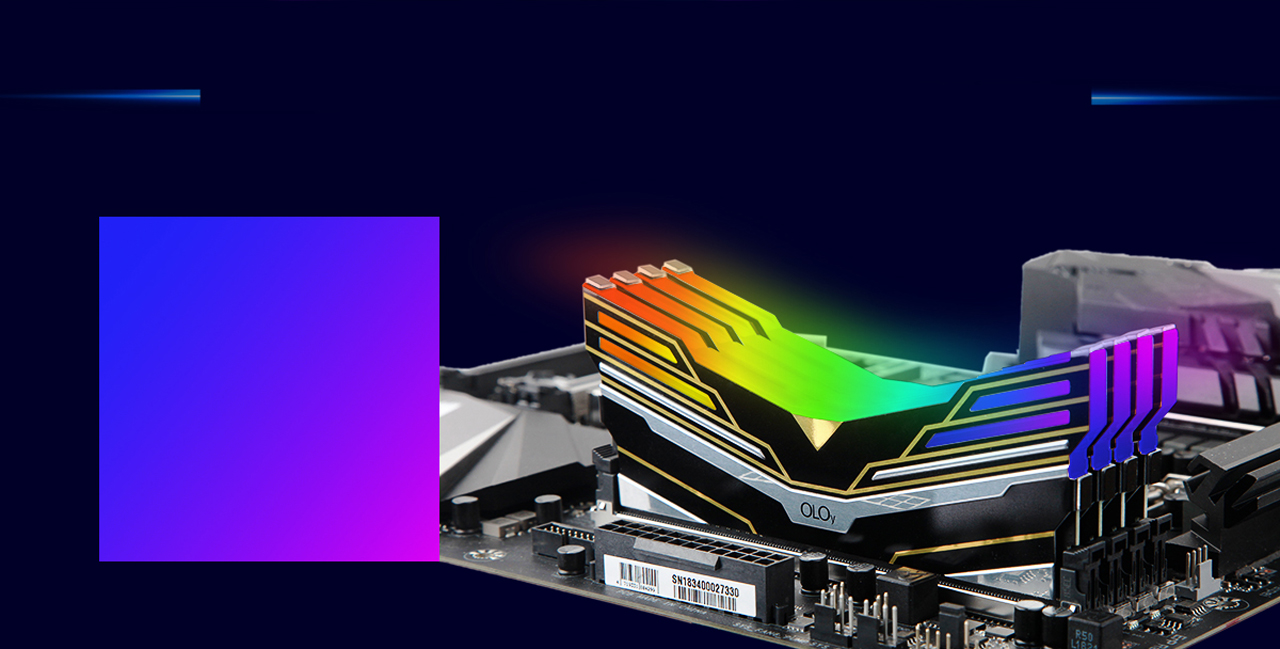 Side View of Four OLOy WarHawk RGB Memory Sticks Installed on a Motherboard