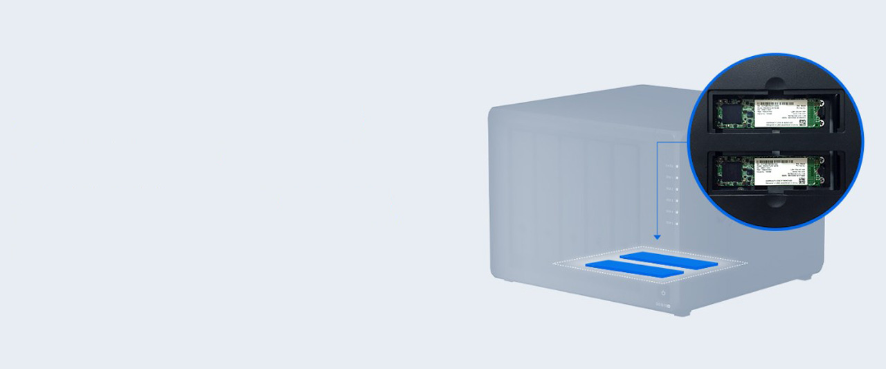 Transparent Graphic of the DiskStation DS1019+ pointing out where the two memory sticks are installed