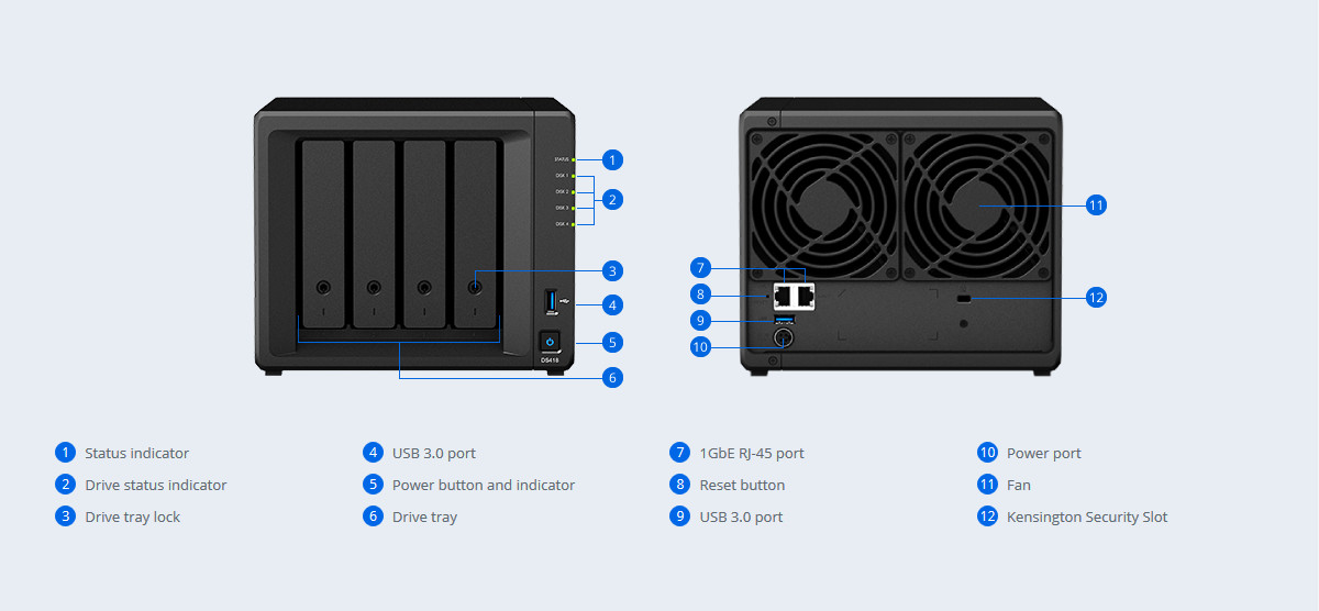 Synology 4 Bay NAS DiskStation DS418 (Diskless) - Newegg com