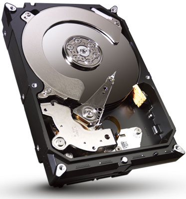 Internal view of an HDD, showing the platter, motor, recording head, recording arm, and more