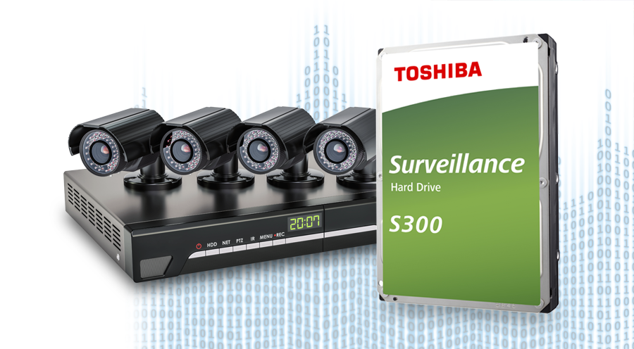 Toshiba S300 Hard Drive Next to an NVR and Four Surveillance Cameras