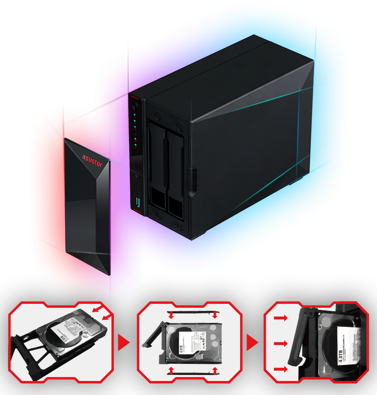 a storage and three hard disk icons
