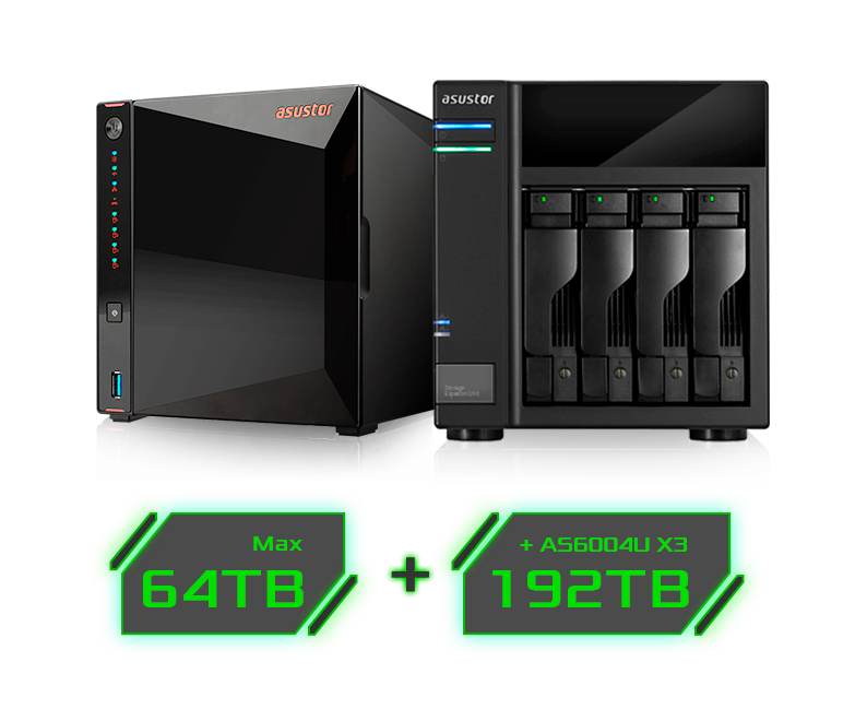 a max 64TB and +AS6004U X3 192TB icon under the 2 nars storages