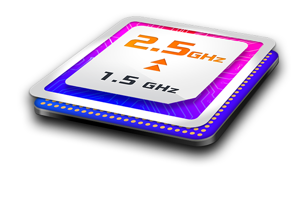up to 2.5Ghz Quad Core CPU