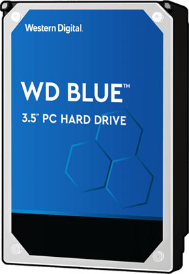 Front view of WD Blue HDD in standing position