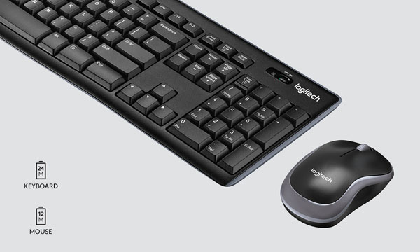 Logitech MK270 Combo with in gray background with two battery icons