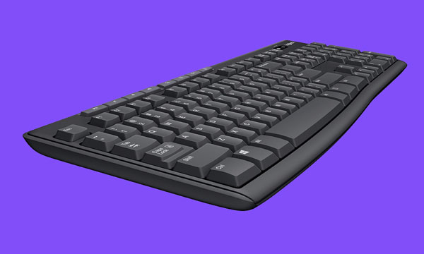 Logitech MK270 keyboard in a purple background