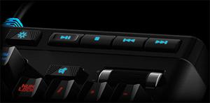 Closeup of the Logitech G910 Orion Spark RGB Keyboard's Media Control Keys