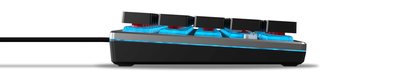Side profile of the Cooler Master SK360 showing each key with their cherry mx switch below