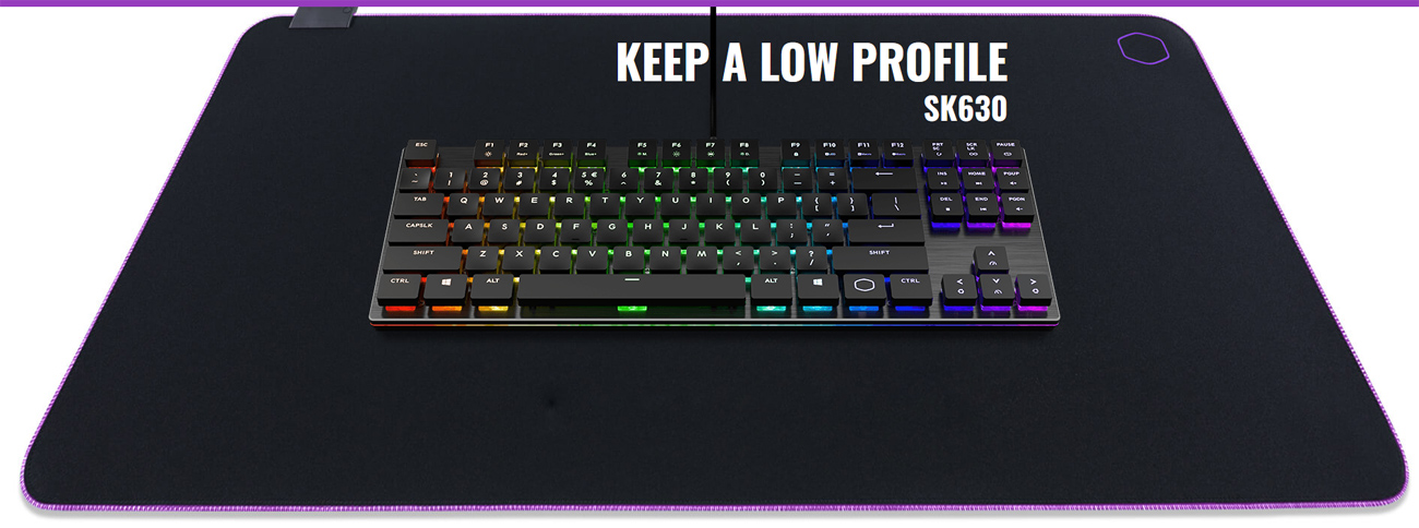 The SK630 keyboard on a charge mat