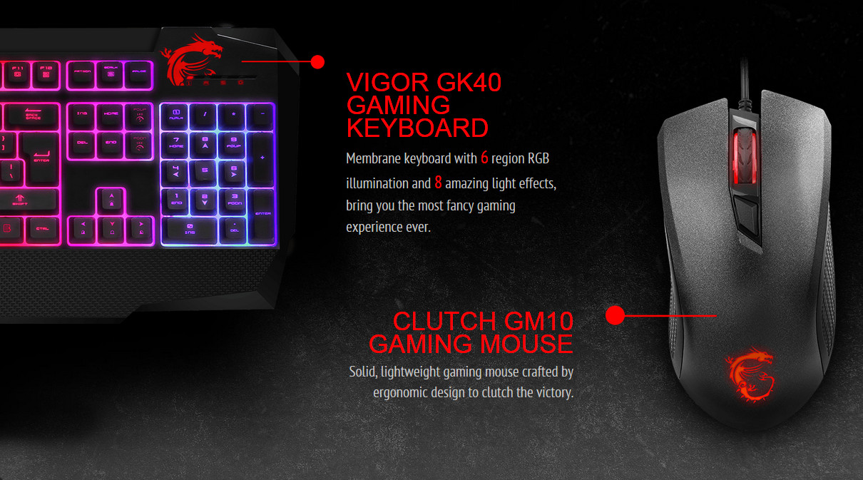 Msi Vigor Gk40 Combo Us Backlit Rgb Dedicated Hotkeys Anti Ghosting Mechanical Feel Gaming Keyboard Mouse Newegg Com