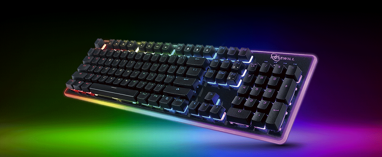 ROSEWILL NEON K51 Hybrid Mechanical RGB Gaming Keyboard Angled Up to the Left