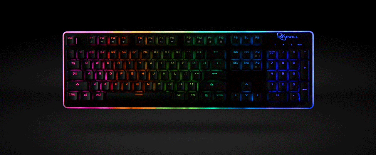 ROSEWILL NEON K51 - Hybrid Mechanical RGB Gaming KeyboardRGB-Lit Components Installed within the