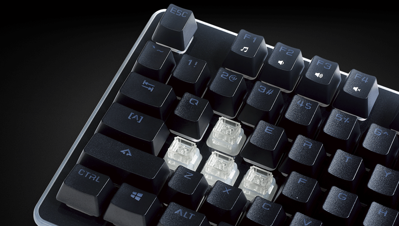 Closeup of the ROSEWILL NEON K51 Hybrid Mechanical RGB Gaming Keyboard's Keys with W, A, S and D removed