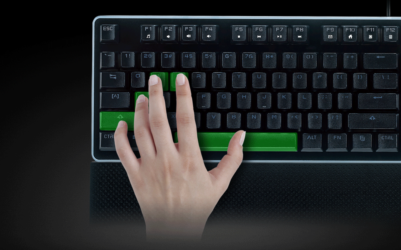 A Left Hand on the ROSEWILL NEON K51 Hybrid Mechanical RGB Gaming Keyboard with a Thumb on the Space Bar, Pinky on the Shift Key, Ring Finger on the A key, Middle on the W and index on the E
