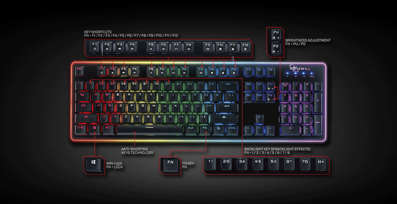 ROSEWILL NEON K51 Hybrid Mechanical RGB Gaming Keyboard Facing Forward, with Highlight Hot Spots on the Function Keys 1 through 12, Windows Lock Key, Anti-Ghosting Keys Technology, Function Key, 1-8 keys and brightness up and down adjustments