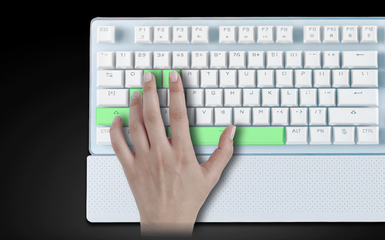eaeaea0b7a8 A Left Hand on the ROSEWILL NEON K51 Hybrid Mechanical RGB Gaming Keyboard  with a Thumb
