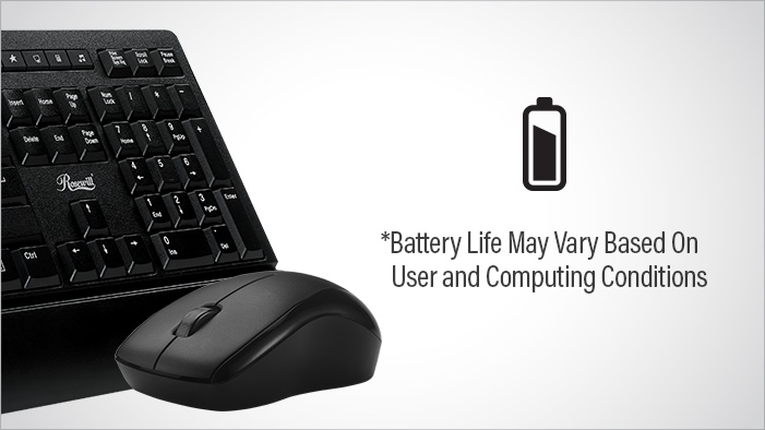 Closeup of the Rosewill RKM-1000 keyboard and mouse next to a battery icon and text that reads: Battery Life May Vary Based on User and Computing Conditions
