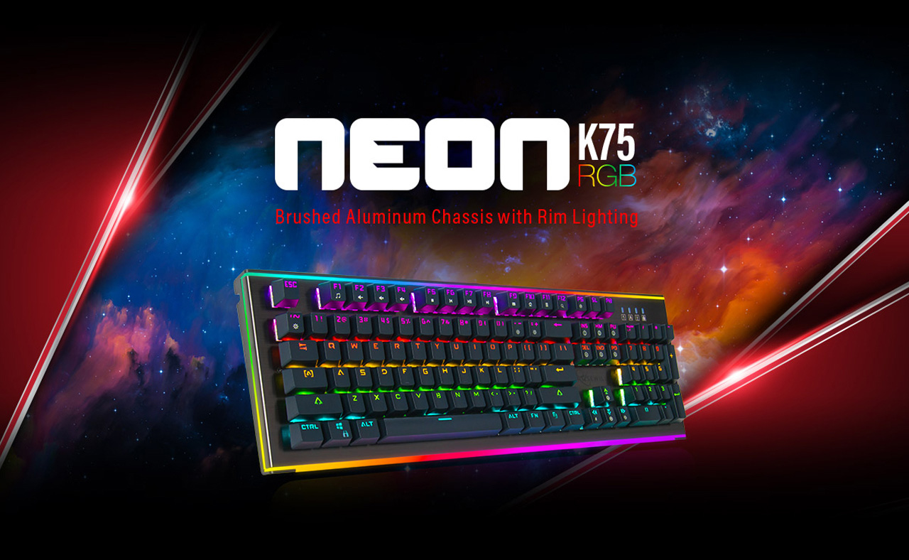 Rosewill NEON K75 V2 Keyboard Banner with text that reads Brushed Aluminum Chassis with Rim Lighting