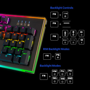 Closeup of the Rosewill NEON K75 V2 with graphics showing the different key combinations for certain functions