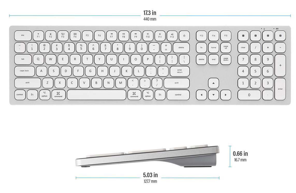 Two keyboards with one facing top showing length and the other one facing sideway showing width and thickness