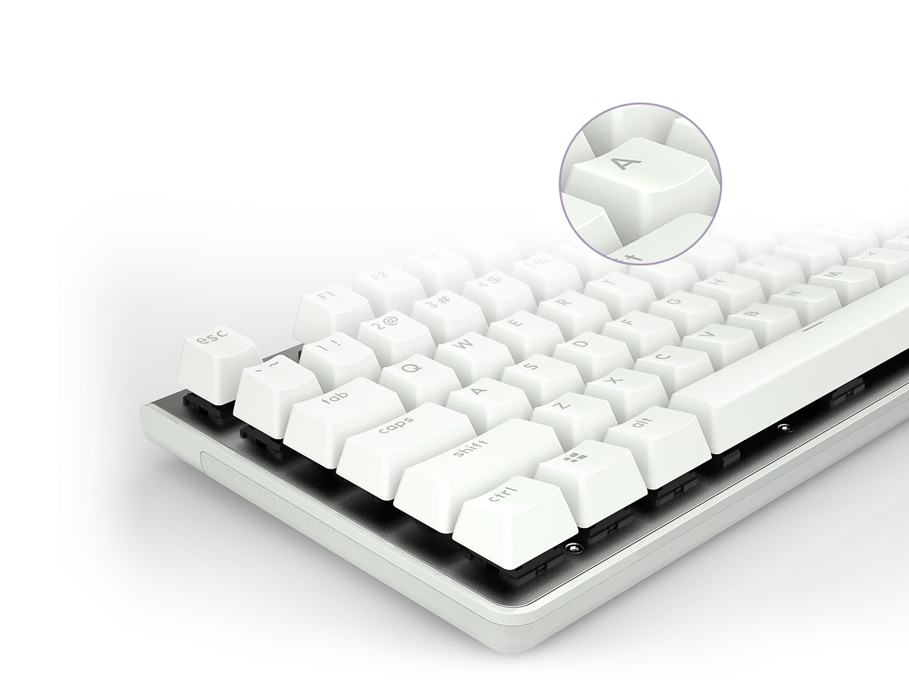 the detail of the white keyboard