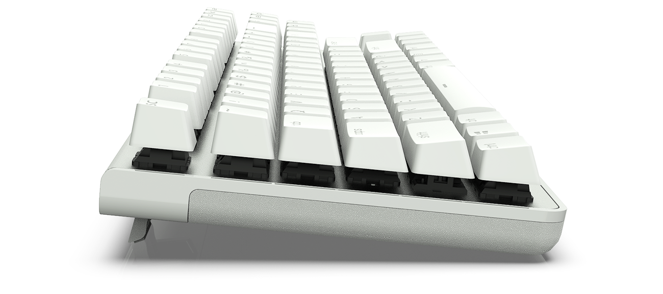 the side of the white keyboard