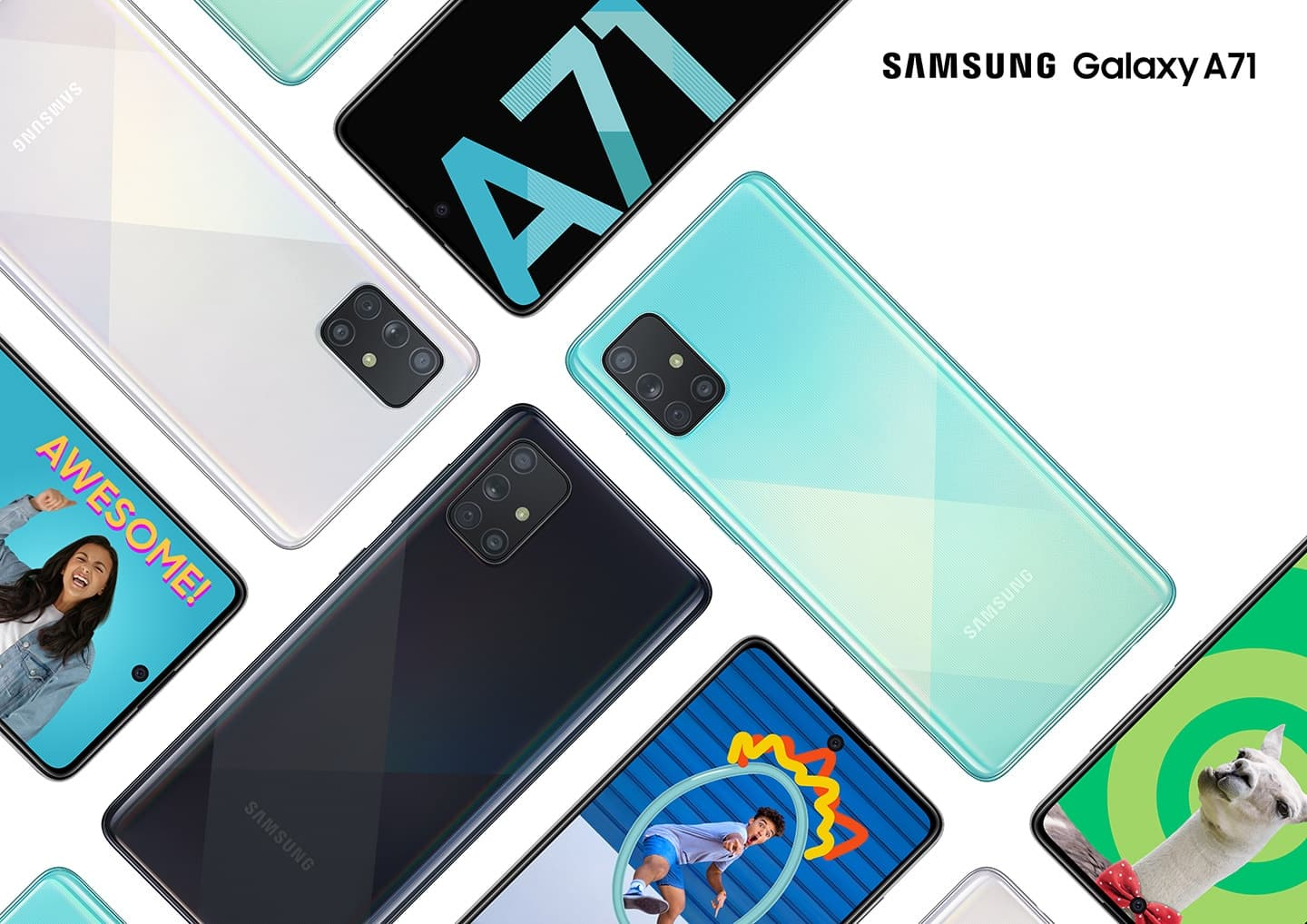 Samsung Galaxy A71 in four different color finishes