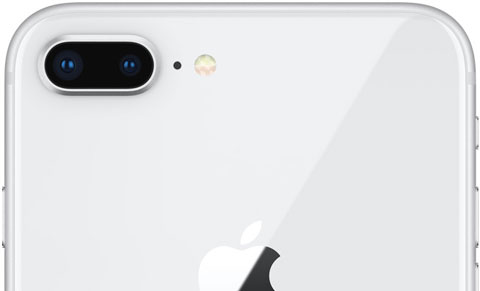 Rear upper part of iPhone 8 Plus, showing dual camera